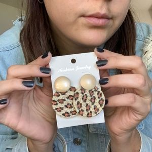 3/$25 Wooden Leopard Drop Earrings Gold Earrings